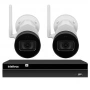 Kit 2 Câmeras IP Wifi Bullet Intelbras VIP 1230 W - 2Mp Sensor 1/2.7 Lente 3.6mm 30m IR IP67 + Gravador Digital de Vídeo NVR NVD 1404 - 4 Canais Intelbras