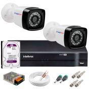 Kit 2 Câmeras Tudo Forte Full HD 1080 Lite + DVR Intelbras + Acessórios Completo - Câmeras com 25m Infravermelho de Visão Noturna