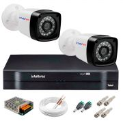 Kit 2 Câmeras Tudo Forte Full HD 1080 Lite + DVR Intelbras - Câmeras com 25m Infravermelho de Visão Noturna + Fonte, Cabos e Acessórios