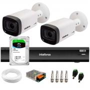 Kit 2 Câmeras Varifocal Bullet Intelbras Multi HD VHD 3240 VF G6 IP67 IR 40m + DVR Gravador Inteligente iMHDX 3004 4 Canais + HD 1TB