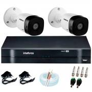 Kit 2 Câmeras VHD 1010 B G6 + DVR Intelbras + App Grátis de Monitoramento, Câmeras HD 720p 10m Infravermelho de Visão Noturna Intelbras + Fonte, Cabos e Acessórios