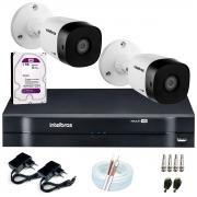 Kit 2 Câmeras VHD 1010 B G6 + DVR Intelbras + HD 1TB + App Grátis de Monitoramento, HD 720p 10m Infravermelho + Cabos e Acessórios