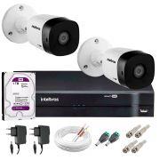 Kit 2 Câmeras VHD 1120 B G5 + DVR Intelbras + HD 1TB para Armazenamento + App Grátis de Monitoramento, Câmeras HD 720p 20m Infravermelho de Visão Noturna Intelbras + Fonte, Cabos e Acessórios