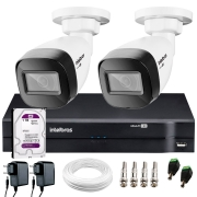 Kit 2 Câmeras VHD 1120 B G6 + DVR Intelbras + HD 1 TB + App + Fonte, Cabos e Acessórios