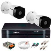 Kit 2 Câmeras VHD 3120 B G5 + DVR Intelbras + App Grátis de Monitoramento, Câmeras HD 720p 20m Infravermelho de Visão Noturna Intelbras + Fonte, Cabos e Acessórios