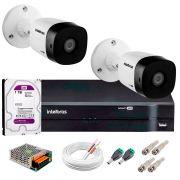 Kit 2 Câmeras VHD 3120 B G5 + DVR Intelbras + HD 1TB para Armazenamento + App Grátis de Monitoramento, Câmeras HD 720p 20m Infravermelho de Visão Noturna Intelbras + Fonte, Cabos e Acessórios