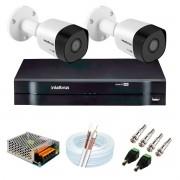 Kit 2 Câmeras VHD 3120 B G6 + DVR Intelbras + App Grátis de Monitoramento, Câmeras HD 720p 20m Infravermelho de Visão Noturna Intelbras + Fonte, Cabos e Acessórios