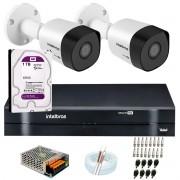 Kit 2 Câmeras VHD 3120 B G6 + DVR Intelbras + HD 1TB para Armazenamento + App Grátis de Monitoramento, Câmeras HD 720p 20m Infravermelho de Visão Noturna Intelbras + Fonte, Cabos e Acessórios