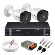 Kit 2 Câmeras VHD 3130 B G6 + DVR Intelbras + App Grátis de Monitoramento, Câmeras HD 720p 30m Infravermelho de Visão Noturna Intelbras + Fonte, Cabos e Acessórios