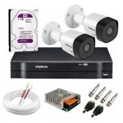 Kit 2 Câmeras VHD 3130 B G6 + DVR Intelbras + HD 1TB para Armazenamento + App Grátis de Monitoramento, Câmeras HD 720p 30m Infravermelho de Visão Noturna Intelbras + Fonte, Cabos e Acessórios