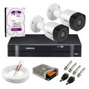 Kit 2 Câmeras VHD 3130 B G6 + DVR Intelbras + HD 2 TB para Armazenamento + App Grátis de Monitoramento, Câmeras HD 720p 30m Infravermelho de Visão Noturna Intelbras + Fonte, Cabos e Acessórios