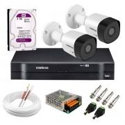 Kit 2 Câmeras VHD 3130 B G6 + DVR Intelbras + HD 3 TB para Armazenamento + App Grátis de Monitoramento, Câmeras HD 720p 30m Infravermelho de Visão Noturna Intelbras + Fonte, Cabos e Acessórios