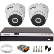 Kit 2 Câmeras VHD 3220 Full HD 1080p  + DVR 3104 Intelbras + App Grátis de Monitoramento, 20m Infravermelho de Visão Noturna Intelbras + Fonte, Cabos e Acessórios