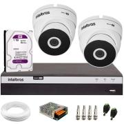 Kit 2 Câmeras VHD 3220 Full HD 1080p + DVR Intelbras MHDX 3104 + HD 1 TB + App Grátis de Monitoramento, 20m Infravermelho de Visão Noturna + Fonte, Cabos e Acessórios