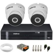 Kit 2 Câmeras VHD 3220 Full HD 1080p + DVR MHDX 1104 Intelbras  + App Grátis de Monitoramento, 20m Infravermelho de Visão Noturna + Fonte, Cabos e Acessórios