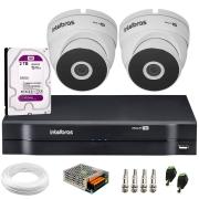Kit 2 Câmeras VHD 3220 Full HD 1080p + DVR MHDX 1104 Intelbras  + HD 2TB + App Grátis de Monitoramento, 20m Infravermelho de Visão Noturna + Fonte, Cabos e Acessórios
