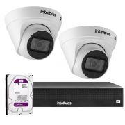 Kit 2 Câmeras VIP 1020 D G2 + NVR Intelbras + HD 1TB para Armazenamento + App Grátis de Monitoramento, Câmeras HD 720p 20m Infravermelho de Visão Noturna Intelbras