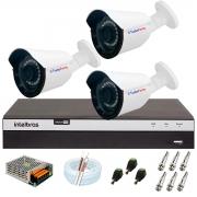 Kit 3 Câmera Bullet Híbrida 4 Em 1 Infravermelho 2k Tudo Forte 3,6mm 5MP + DVR Intelbras 3104 + App Grátis de Monitoramento