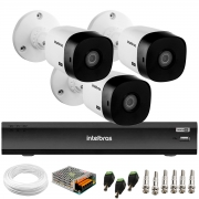 Kit 3 Câmeras Bullet 2K Quad HD 4MP Intelbras VHD 1420 B HDCVI + DVR Gravador de Vídeo Inteligente iMHDX 3004 4 Canais + Acessórios