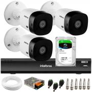 Kit 3 Câmeras Bullet 2K Quad HD 4MP Intelbras VHD 1420 B HDCVI + DVR Gravador de Vídeo Inteligente iMHDX 3004 4 Canais + HD 1TB