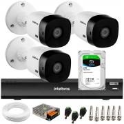 Kit 3 Câmeras Bullet 2K Quad HD 4MP Intelbras VHD 1420 B HDCVI + DVR Gravador de Vídeo Inteligente iMHDX 3004 4 Canais + HD 2TB