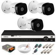 Kit 3 Câmeras 2K VHD 1420B + DVR Intelbras + App Grátis de Monitoramento, Câmeras 20m Infravermelho de Visão Noturna + Fonte, Cabos e Acessórios