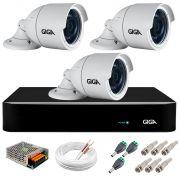Kit 3 Câmeras  5MP + DVR Giga +  App de Monitoramento, Câmeras 30m Infravermelho de Visão Noturna Giga Security GS0047 Completo com Acessórios