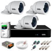 Kit 3 Câmeras  5MP + DVR Giga +  HD 1TB + App de  Monitoramento, Câmeras 30m Infravermelho de Visão Noturna Giga Security GS0047 Completo com Acessórios
