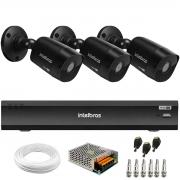 Kit 3 Câmeras Black Intelbras VHD 1220 B G6 Full HD 1080p + Gravador de Vídeo Digital iMHDX 3004 com Reconhecimento Facial 4 Canais + Acessórios