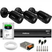 Kit 3 Câmeras Black Intelbras VHD 1220 B G6 Full HD 1080p + Gravador de Vídeo Digital iMHDX 3004 com Reconhecimento Facial 4 Canais + Hd 1TB