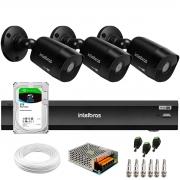 Kit 3 Câmeras Black Intelbras VHD 1220 B G6 Full HD 1080p + Gravador de Vídeo Digital iMHDX 3004 com Reconhecimento Facial 4 Canais + Hd 2TB