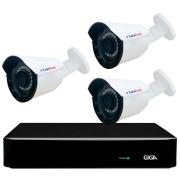 Kit 3 Câmeras Bullet Híbrida 4 Em 1 Infravermelho 2k Tudo Forte 3,6mm 5MP + DVR Giga GS0190