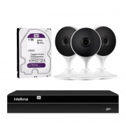 Kit 3 Câmeras com Inteligencia Artificial Full HD iM3 Intelbras Branco + 1 NVR Stand Alone 04 Canais 6MP NVD 1304 Intelbras + 1 HD Interno WD Purple 1TB Surveillance SATA III