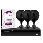 Kit 3 Câmeras de Segurança Wifi Intelbras IA Full HD Mibo iM3 Preta + NVR 1304 Stand Alone 04 Canais 6MP Intelbras + 1 HD WD Purple 1TB
