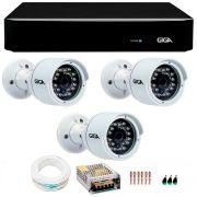 Kit 3 Câmeras de Segurança 4 Megapixels Ultra HD 2k Giga Security GS0042  + DVR Giga Security 4MP + Acessórios