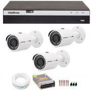 Kit 3 Câmeras de Segurança 4MP 2k Intelbras VHD 3430 B + DVR Intelbras 4K + Acessórios