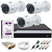 Kit 3 Câmeras de Segurança 4MP 2k Intelbras VHD 3430 B + DVR Intelbras 4K + HD WD Purple + Acessórios