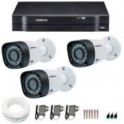 Kit 3 Câmeras de Segurança HD 720p Intelbras VHD 3120B G3 + DVR Intelbras Multi HD + Acessórios