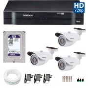 Kit 3 Câmeras de Segurança HD 720p Intelbras VM 3120 IR G4 + DVR Intelbras Multi HD + HD para Gravação + Acessórios