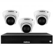 Kit 3 Câmeras de Segurança Dome Intelbras Full HD 1080p VIP 1230 D + NVR 1304 de 4 Canais IP+ App Grátis de Monitoramento