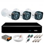 Kit 3 Câmeras de Segurança Full HD 1080p Giga Security gs0271  + DVR Giga Security 2MP + Acessórios