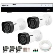 Kit 3 Câmeras de Segurança Full HD 1080p Intelbras VHD 1220B IR + DVR Intelbras Full HD 4 Ch + Acessórios
