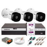 Kit 3 Câmeras de Segurança Full HD 1080p Intelbras VHD 1220B IR + DVR Intelbras Full HD 4 Ch + HD WD Purple 2TB + Acessórios