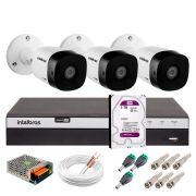 Kit 3 Câmeras de Segurança Full HD 1080p Intelbras VHD 1220B IR + DVR Intelbras Full HD 4 Ch + HD WD Purple 3TB + Acessórios