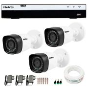 Kit 3 Câmeras de Segurança Full HD 1080p Intelbras VHD 1220B IR + DVR Intelbras Full HD 8 Ch + Acessórios