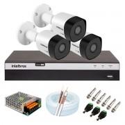 Kit 3 Câmeras de Segurança Full HD 1080p VHD 3230 B G5 + DVR Intelbras MHDX 3104 Full HD de 4 Canais + Acessórios