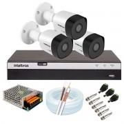 Kit 3 Câmeras de Segurança Full HD 1080p VHD 3230 B G6 + DVR Intelbras MHDX 3104 Full HD de 4 Canais + Acessórios