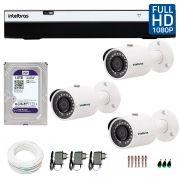 Kit 3 Câmeras de Segurança Full HD 1080p Intelbras VHD 3230 + DVR Intelbras Full HD 4 Ch +  HD WD Purple 1TB + Acessórios