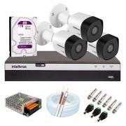 Kit 3 Câmeras de Segurança Full HD 1080p VHD 3230 B G6 + DVR Intelbras MHDX 3104 Full HD de 04 Canais + 1 HD Interno WD Purple 1TB Surveillance SATA III + Acessórios