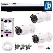 Kit 3 Câmeras de Segurança Full HD 1080p Intelbras VHD 3230 + DVR Intelbras Full HD 4 Ch +  HD WD Purple 2TB + Acessórios